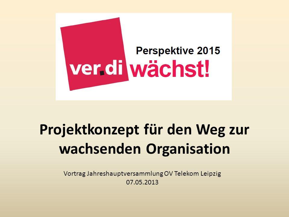Projektkonzept für den Weg zur wachsenden Organisation Vortrag Jahreshauptversammlung OV Telekom Leipzig 07.05.2013