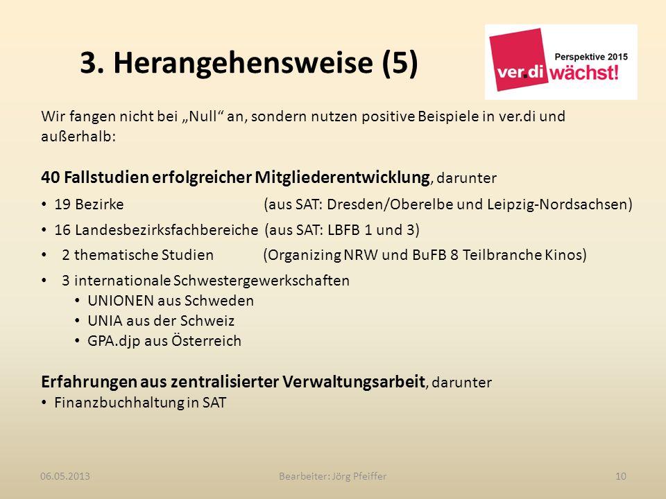 3. Herangehensweise (5) Bearbeiter: Jörg Pfeiffer1006.05.2013 Wir fangen nicht bei Null an, sondern nutzen positive Beispiele in ver.di und außerhalb: