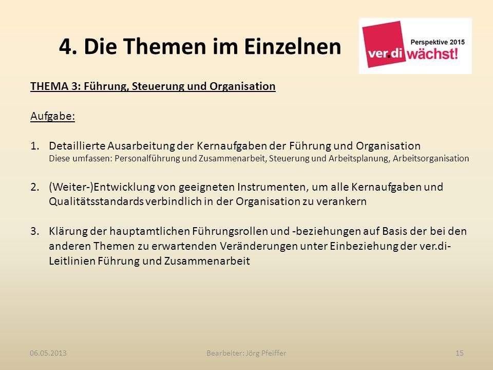 4. Die Themen im Einzelnen Bearbeiter: Jörg Pfeiffer1506.05.2013 THEMA 3: Führung, Steuerung und Organisation Aufgabe: 1.Detaillierte Ausarbeitung der