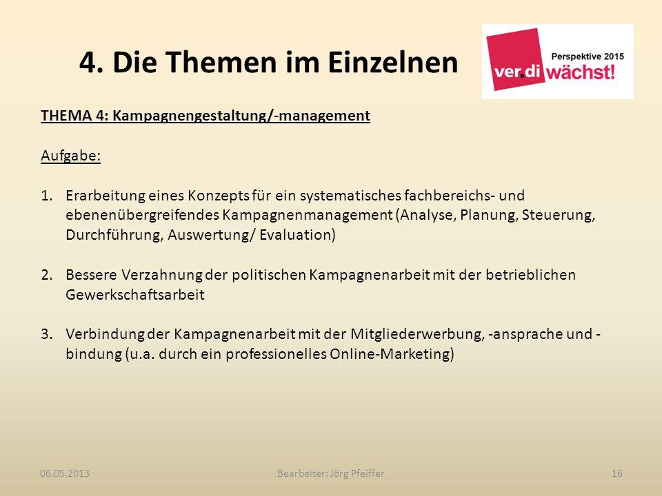 4. Die Themen im Einzelnen Bearbeiter: Jörg Pfeiffer1606.05.2013 THEMA 4: Kampagnengestaltung/-management Aufgabe: 1.Erarbeitung eines Konzepts für ei