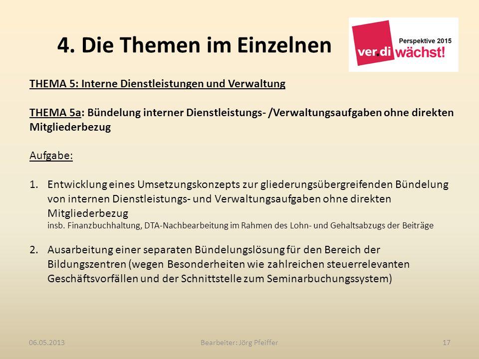 4. Die Themen im Einzelnen Bearbeiter: Jörg Pfeiffer1706.05.2013 THEMA 5: Interne Dienstleistungen und Verwaltung THEMA 5a: Bündelung interner Dienstl