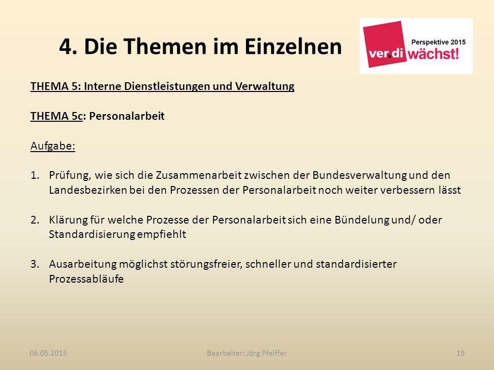 4. Die Themen im Einzelnen Bearbeiter: Jörg Pfeiffer1906.05.2013 THEMA 5: Interne Dienstleistungen und Verwaltung THEMA 5c: Personalarbeit Aufgabe: 1.