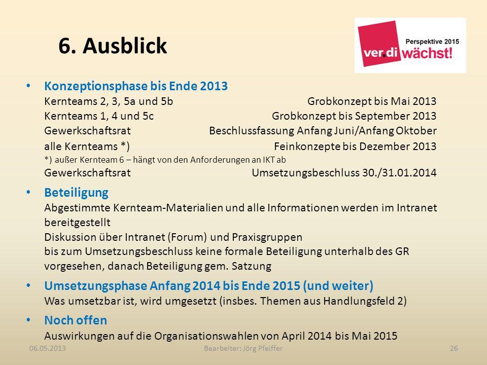 6. Ausblick Bearbeiter: Jörg Pfeiffer2606.05.2013 Konzeptionsphase bis Ende 2013 Kernteams 2, 3, 5a und 5b Grobkonzept bis Mai 2013 Kernteams 1, 4 und
