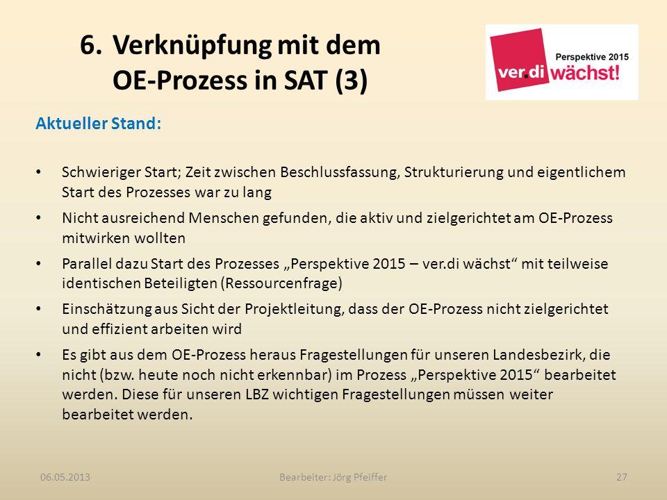6. Verknüpfung mit dem OE-Prozess in SAT (3) Bearbeiter: Jörg Pfeiffer2706.05.2013 Aktueller Stand: Schwieriger Start; Zeit zwischen Beschlussfassung,