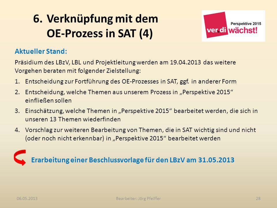 6. Verknüpfung mit dem OE-Prozess in SAT (4) Bearbeiter: Jörg Pfeiffer2806.05.2013 Aktueller Stand: Präsidium des LBzV, LBL und Projektleitung werden
