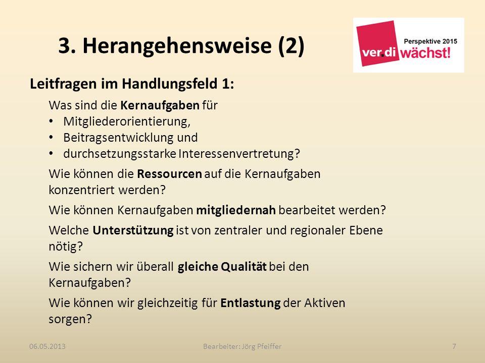3. Herangehensweise (2) Bearbeiter: Jörg Pfeiffer706.05.2013 Leitfragen im Handlungsfeld 1: Was sind die Kernaufgaben für Mitgliederorientierung, Beit