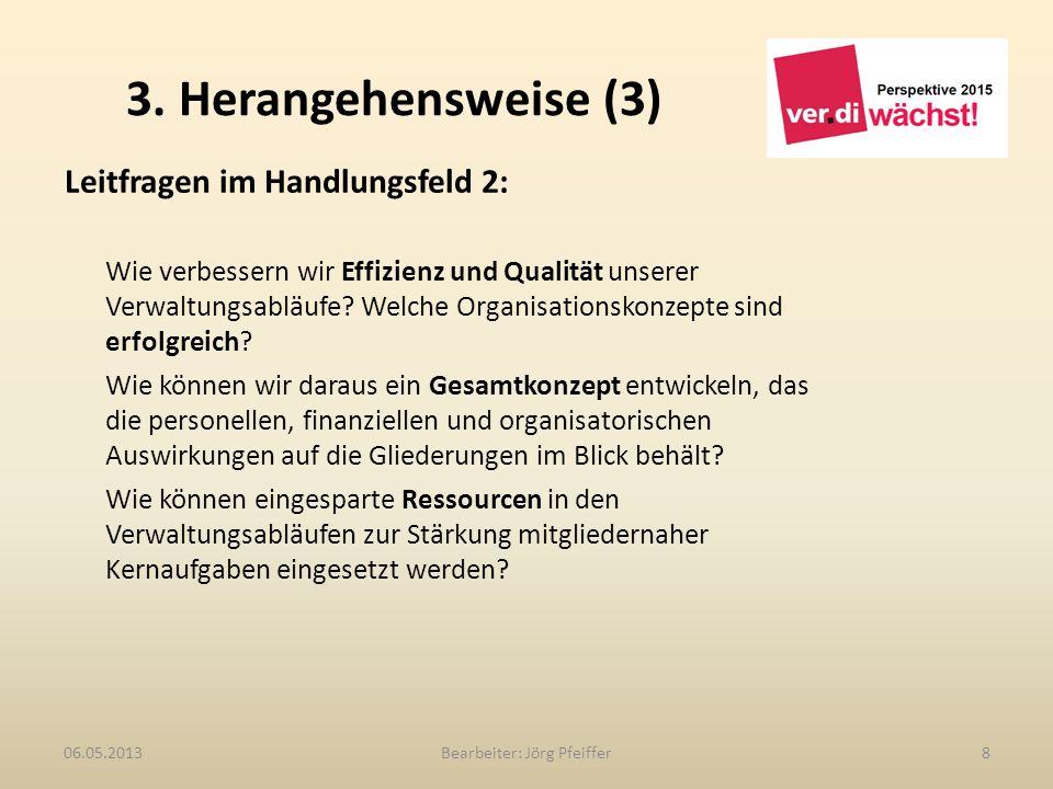 3. Herangehensweise (3) Bearbeiter: Jörg Pfeiffer806.05.2013 Leitfragen im Handlungsfeld 2: Wie verbessern wir Effizienz und Qualität unserer Verwaltu