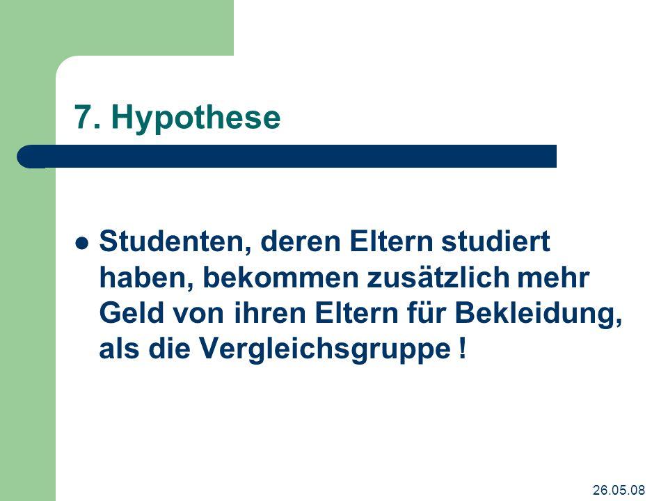 26.05.08 7. Hypothese Studenten, deren Eltern studiert haben, bekommen zusätzlich mehr Geld von ihren Eltern für Bekleidung, als die Vergleichsgruppe