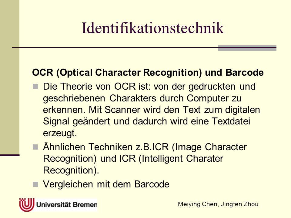 Meiying Chen, Jingfen Zhou Identifikationstechnik OCR (Optical Character Recognition) und Barcode Die Theorie von OCR ist: von der gedruckten und geschriebenen Charakters durch Computer zu erkennen.