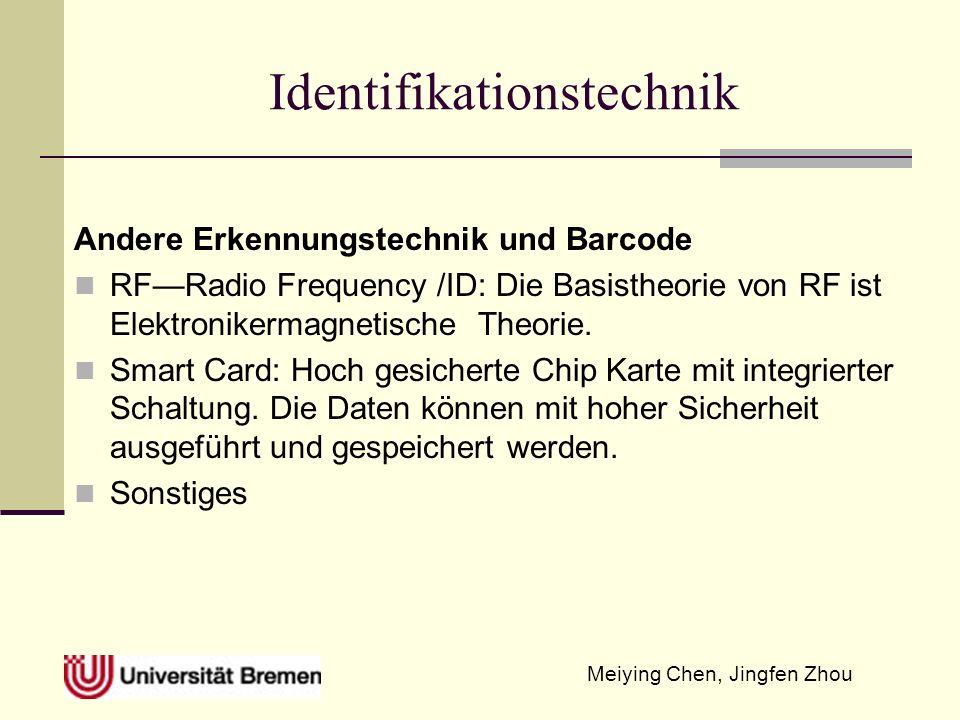 Meiying Chen, Jingfen Zhou Identifikationstechnik Andere Erkennungstechnik und Barcode RFRadio Frequency /ID: Die Basistheorie von RF ist Elektroniker