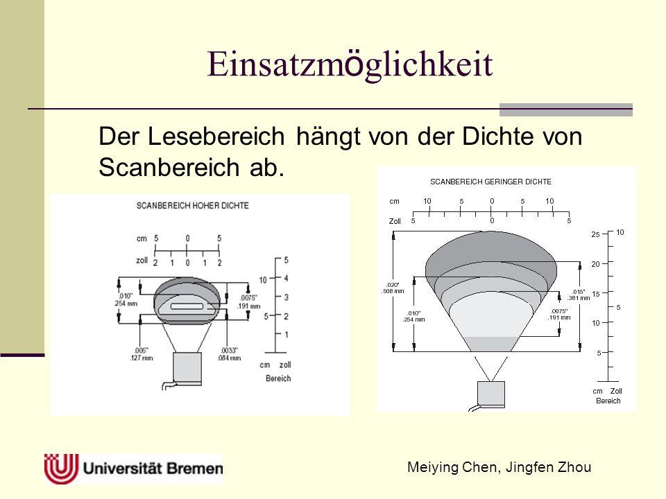 Meiying Chen, Jingfen Zhou Einsatzm ö glichkeit Der Lesebereich hängt von der Dichte von Scanbereich ab.