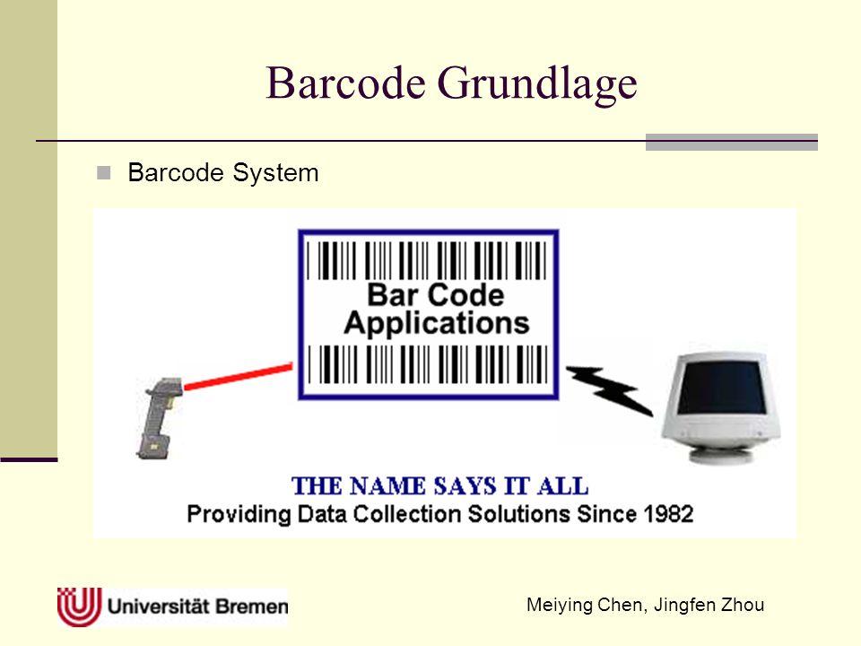 Meiying Chen, Jingfen Zhou Barcodetype und ihre Anwendungszweck EAN Erweiterung von UPC, eingeführt in Europe in 70s EAN 13 2-stell.