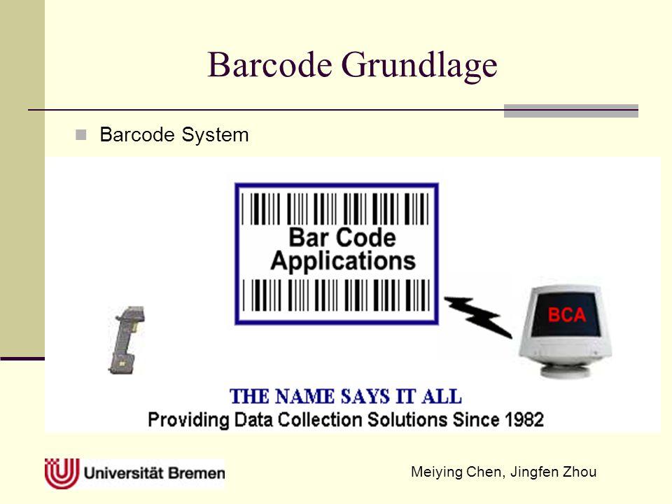 Meiying Chen, Jingfen Zhou Barcodetype und ihre Anwendungszweck Code 128 Voller ASCII-Zeichensatz, vier Steuer- und vier Sonderzeichen darstellbar, hohe Informationsdichte Code 128 A Teile des ASCII Satzes keine Kleinbuchstaben dafür ASCII Steuerzeichen Code 128 B kompletter ASCII Satz, jedoch ohne Steuerzeichen