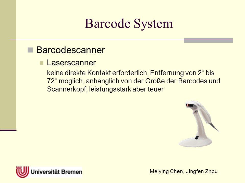 Meiying Chen, Jingfen Zhou Barcode System Barcodescanner Laserscanner keine direkte Kontakt erforderlich, Entfernung von 2 bis 72 möglich, anhänglich von der Größe der Barcodes und Scannerkopf, leistungsstark aber teuer