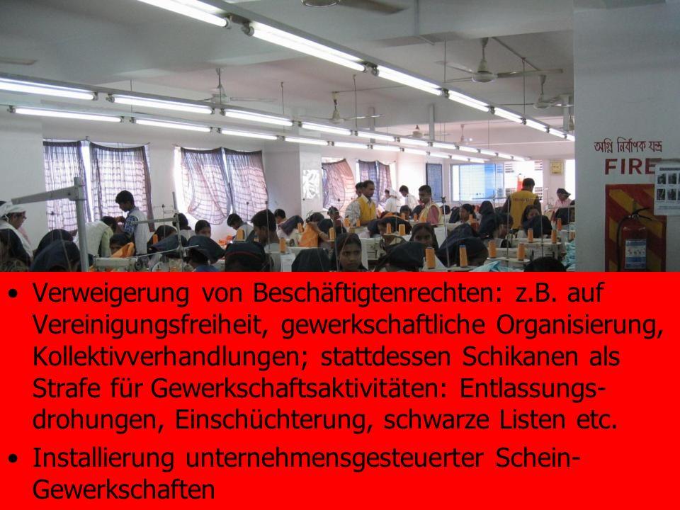 Verweigerung von Beschäftigtenrechten: z.B. auf Vereinigungsfreiheit, gewerkschaftliche Organisierung, Kollektivverhandlungen; stattdessen Schikanen a