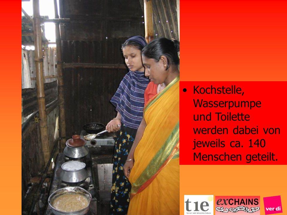 Kochstelle, Wasserpumpe und Toilette werden dabei von jeweils ca. 140 Menschen geteilt.