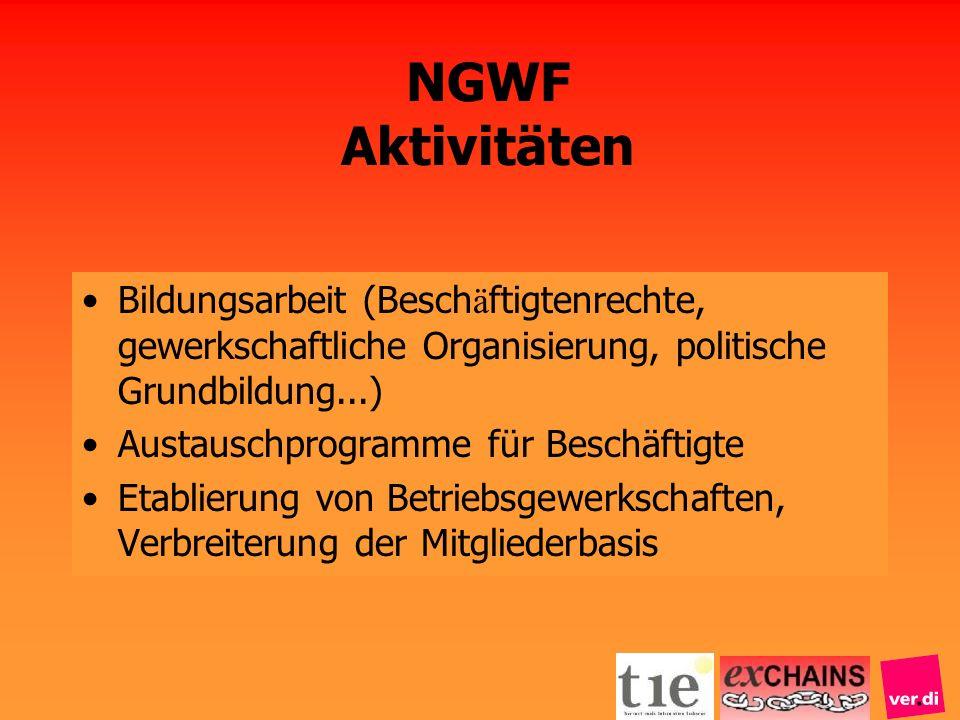 NGWF Aktivitäten Bildungsarbeit (Besch ä ftigtenrechte, gewerkschaftliche Organisierung, politische Grundbildung...) Austauschprogramme für Beschäftig