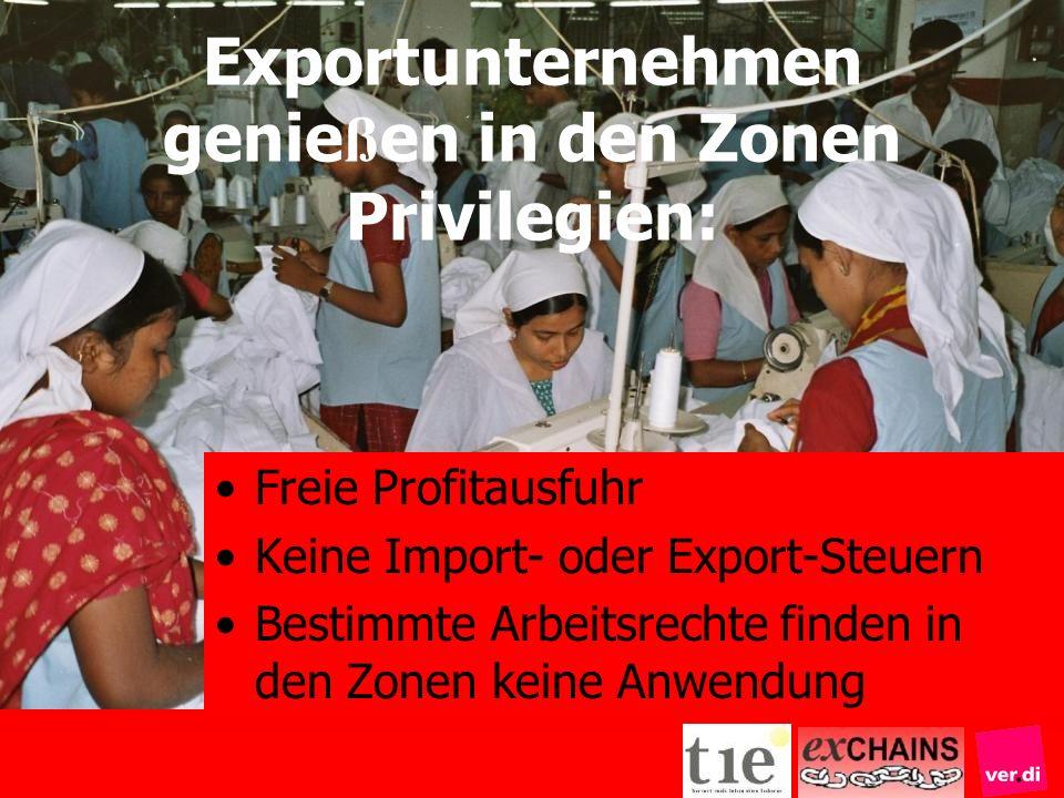 Freie Profitausfuhr Keine Import- oder Export-Steuern Bestimmte Arbeitsrechte finden in den Zonen keine Anwendung Exportunternehmen genie ß en in den
