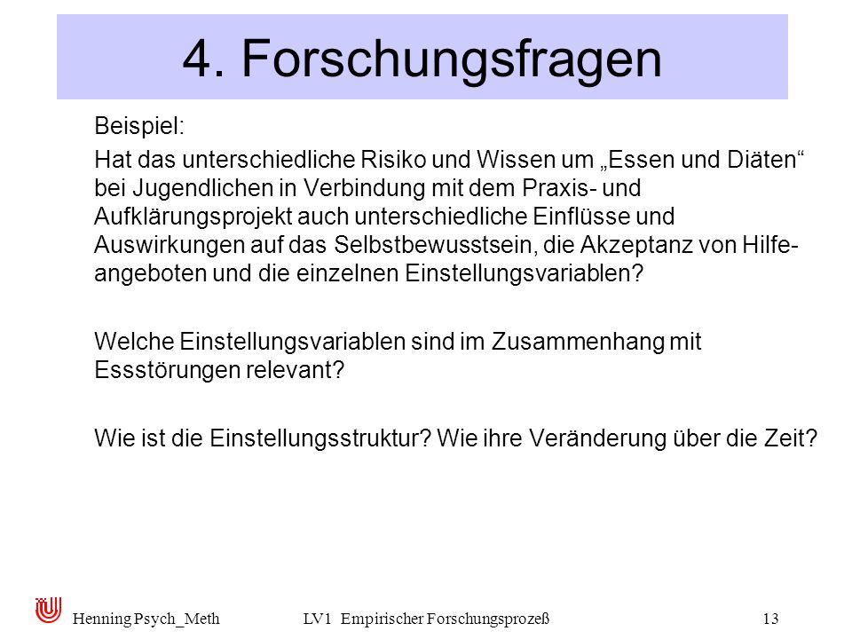 Henning Psych_MethLV1 Empirischer Forschungsprozeß13 4. Forschungsfragen Beispiel: Hat das unterschiedliche Risiko und Wissen um Essen und Diäten bei