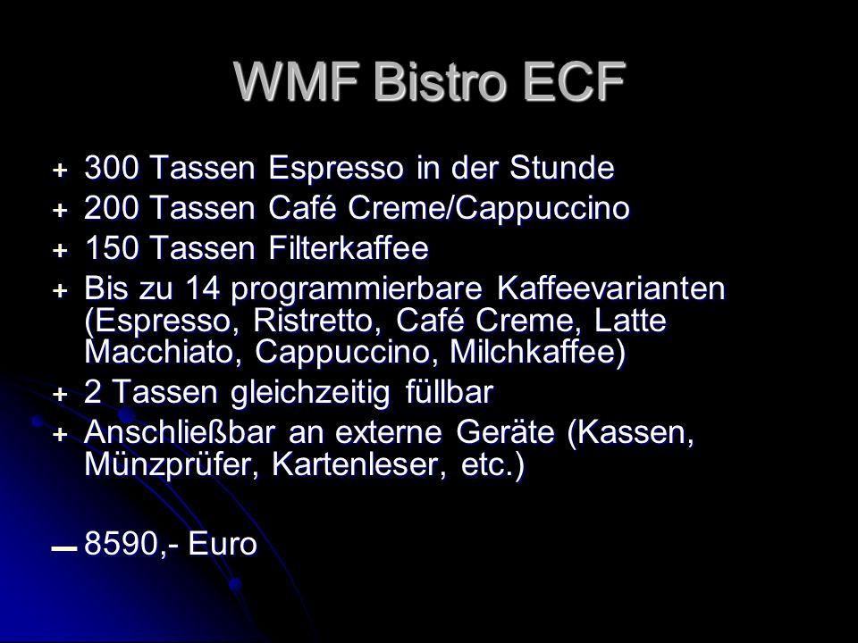 + 300 Tassen Espresso in der Stunde + 200 Tassen Café Creme/Cappuccino + 150 Tassen Filterkaffee + Bis zu 14 programmierbare Kaffeevarianten (Espresso