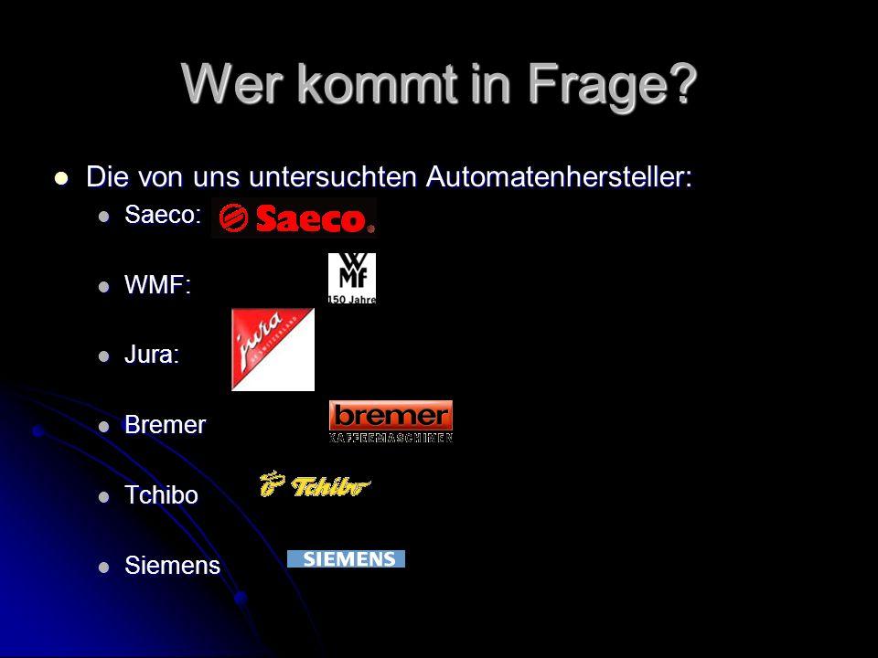Wer kommt in Frage? Die von uns untersuchten Automatenhersteller: Die von uns untersuchten Automatenhersteller: Saeco: Saeco: WMF: WMF: Jura: Jura: Br