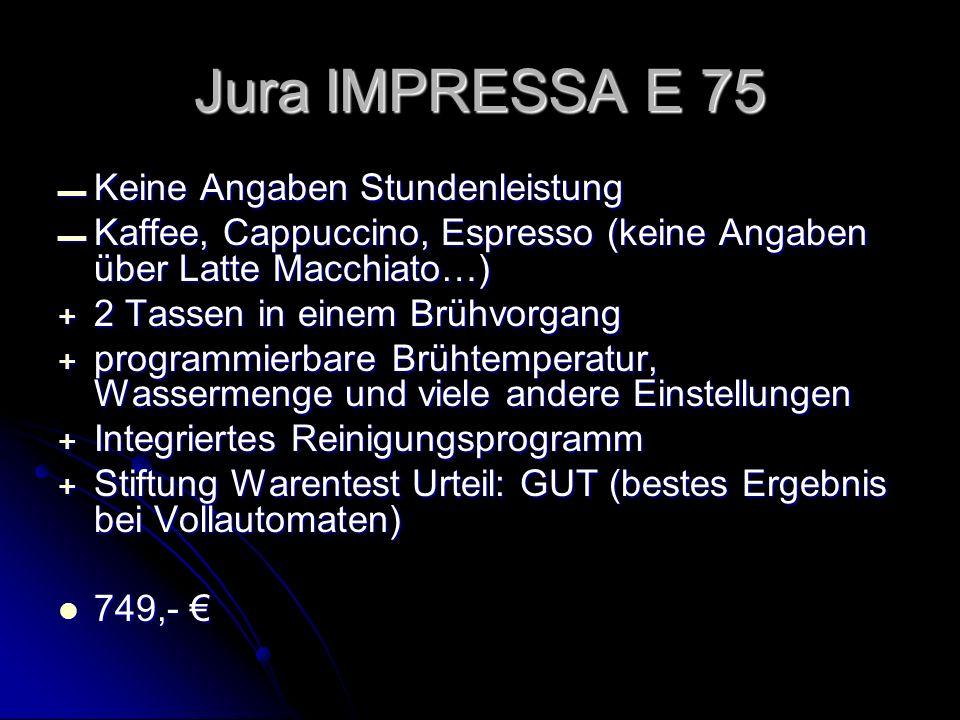 Keine Angaben Stundenleistung Keine Angaben Stundenleistung Kaffee, Cappuccino, Espresso (keine Angaben über Latte Macchiato…) Kaffee, Cappuccino, Esp
