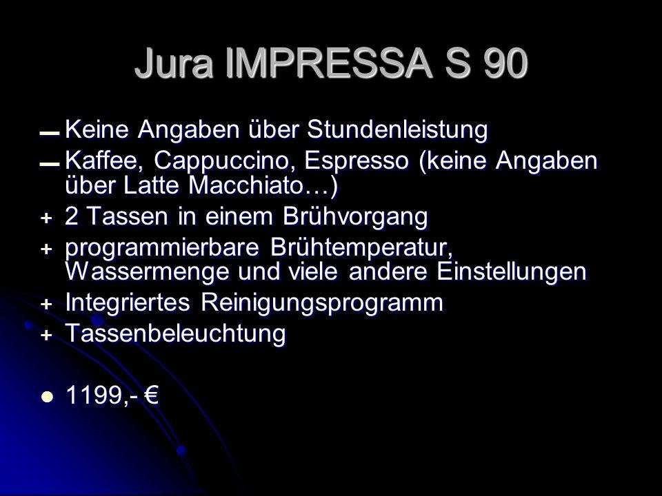 Keine Angaben über Stundenleistung Keine Angaben über Stundenleistung Kaffee, Cappuccino, Espresso (keine Angaben über Latte Macchiato…) Kaffee, Cappu