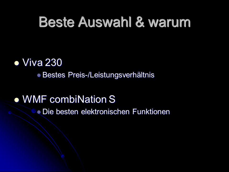 Beste Auswahl & warum Viva 230 Viva 230 Bestes Preis-/Leistungsverhältnis Bestes Preis-/Leistungsverhältnis WMF combiNation S WMF combiNation S Die be