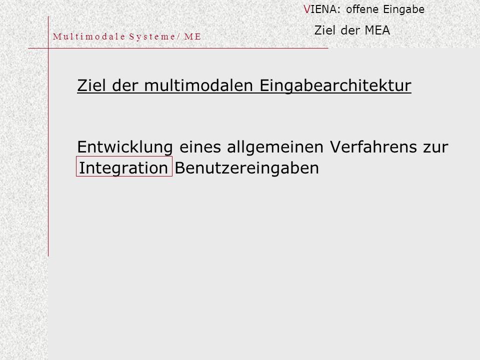 M u l t i m o d a l e S y s t e m e / M E Ziel der multimodalen Eingabearchitektur Entwicklung eines allgemeinen Verfahrens zur Integration Benutzereingaben VIENA: offene Eingabe Ziel der MEA