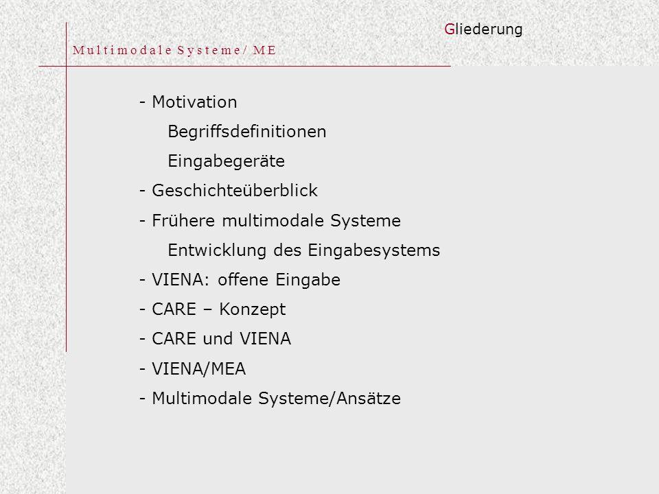 M u l t i m o d a l e S y s t e m e / M E - Motivation Begriffsdefinitionen Eingabegeräte - Geschichteüberblick - Frühere multimodale Systeme Entwicklung des Eingabesystems - VIENA: offene Eingabe - CARE – Konzept - CARE und VIENA - VIENA/MEA - Multimodale Systeme/Ansätze Gliederung