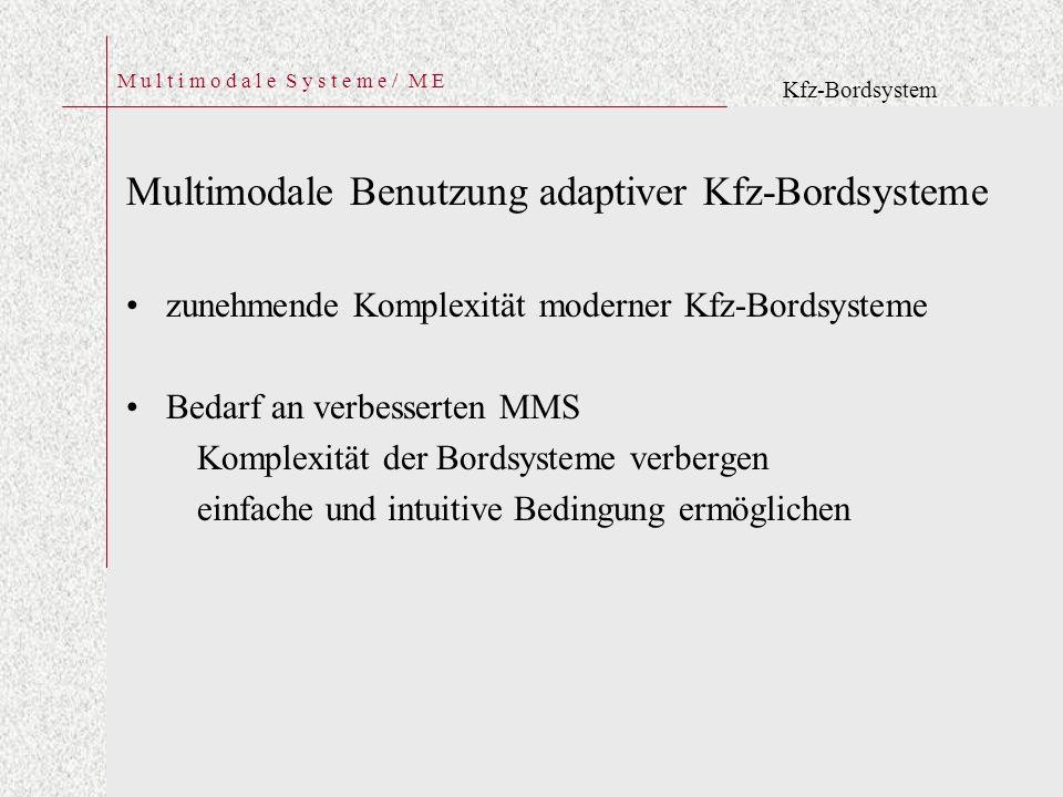 M u l t i m o d a l e S y s t e m e / M E Multimodale Benutzung adaptiver Kfz-Bordsysteme zunehmende Komplexität moderner Kfz-Bordsysteme Bedarf an verbesserten MMS Komplexität der Bordsysteme verbergen einfache und intuitive Bedingung ermöglichen Kfz-Bordsystem
