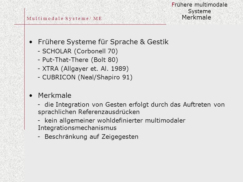 M u l t i m o d a l e S y s t e m e / M E Frühere Systeme für Sprache & Gestik - SCHOLAR (Corbonell 70) - Put-That-There (Bolt 80) - XTRA (Allgayer et.