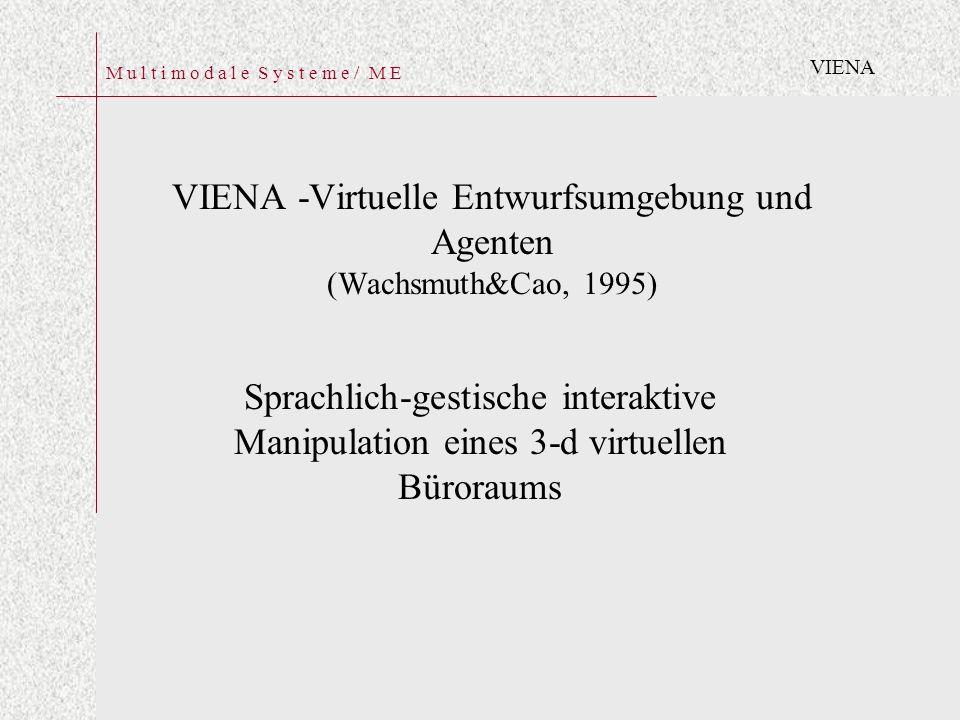 M u l t i m o d a l e S y s t e m e / M E VIENA -Virtuelle Entwurfsumgebung und Agenten (Wachsmuth&Cao, 1995) Sprachlich-gestische interaktive Manipulation eines 3-d virtuellen Büroraums VIENA