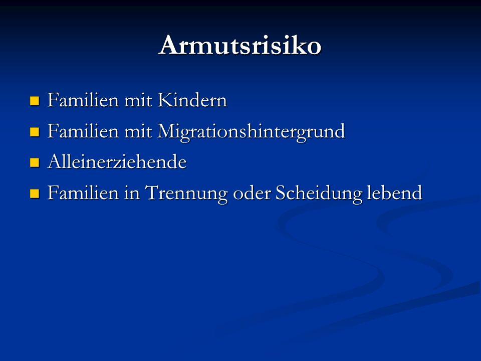 Armutsrisiko Familien mit Kindern Familien mit Kindern Familien mit Migrationshintergrund Familien mit Migrationshintergrund Alleinerziehende Alleiner