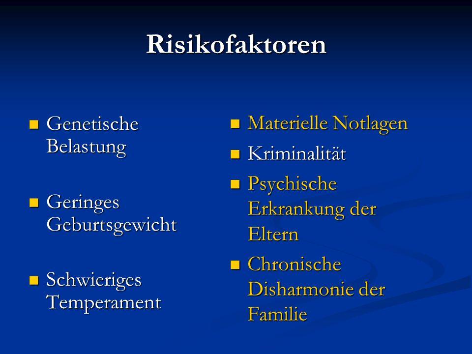 Risikofaktoren Genetische Belastung Genetische Belastung Geringes Geburtsgewicht Geringes Geburtsgewicht Schwieriges Temperament Schwieriges Temperame