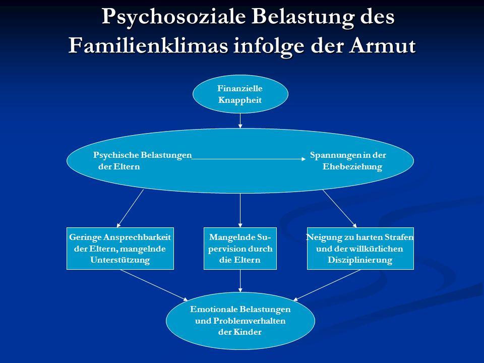 Psychosoziale Belastung des Familienklimas infolge der Armut Psychosoziale Belastung des Familienklimas infolge der Armut Finanzielle Knappheit Psychi
