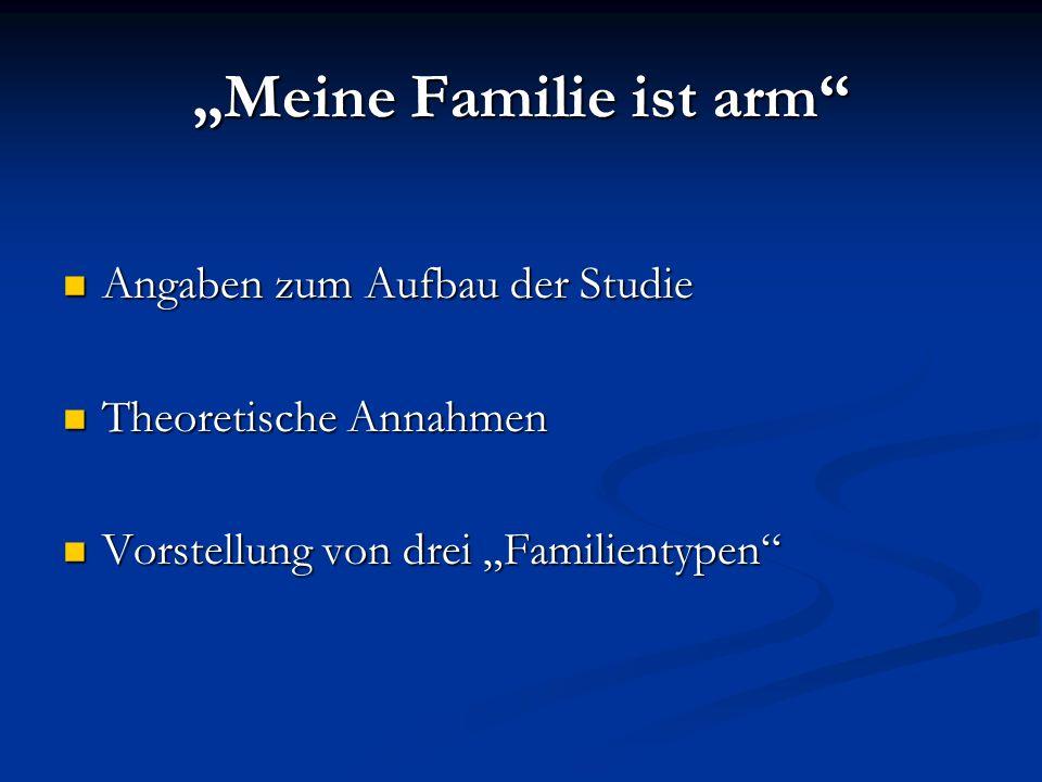 Meine Familie ist arm Angaben zum Aufbau der Studie Angaben zum Aufbau der Studie Theoretische Annahmen Theoretische Annahmen Vorstellung von drei Fam