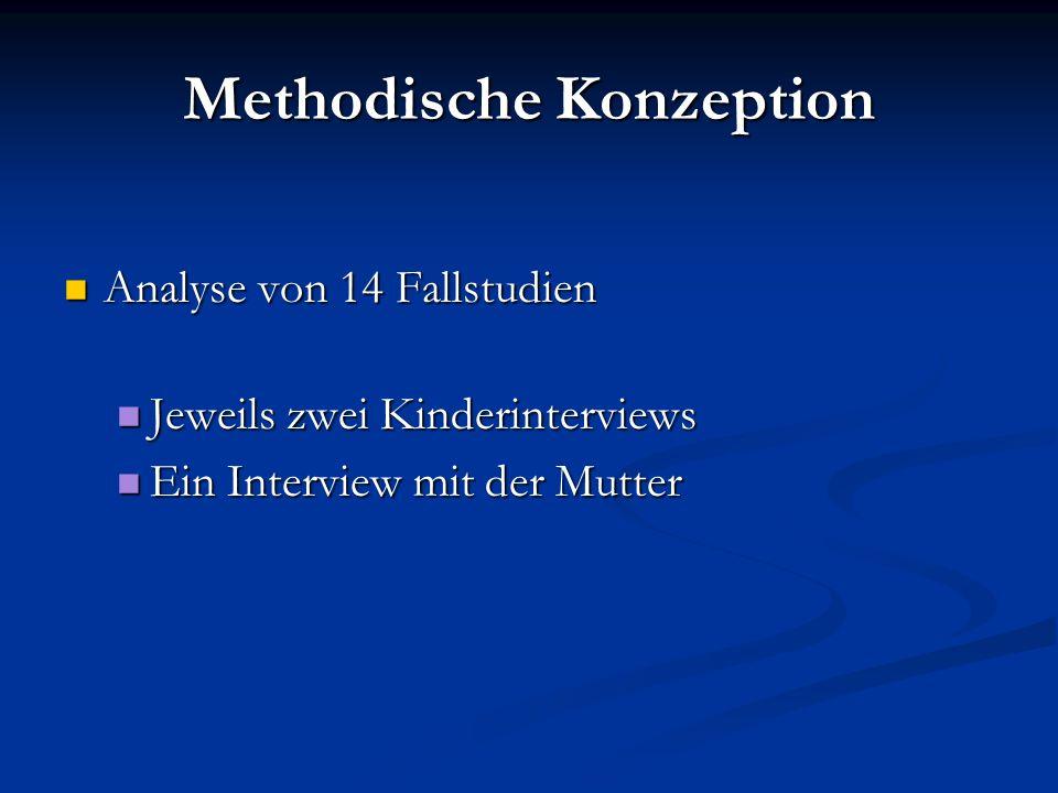 Methodische Konzeption Analyse von 14 Fallstudien Analyse von 14 Fallstudien Jeweils zwei Kinderinterviews Jeweils zwei Kinderinterviews Ein Interview