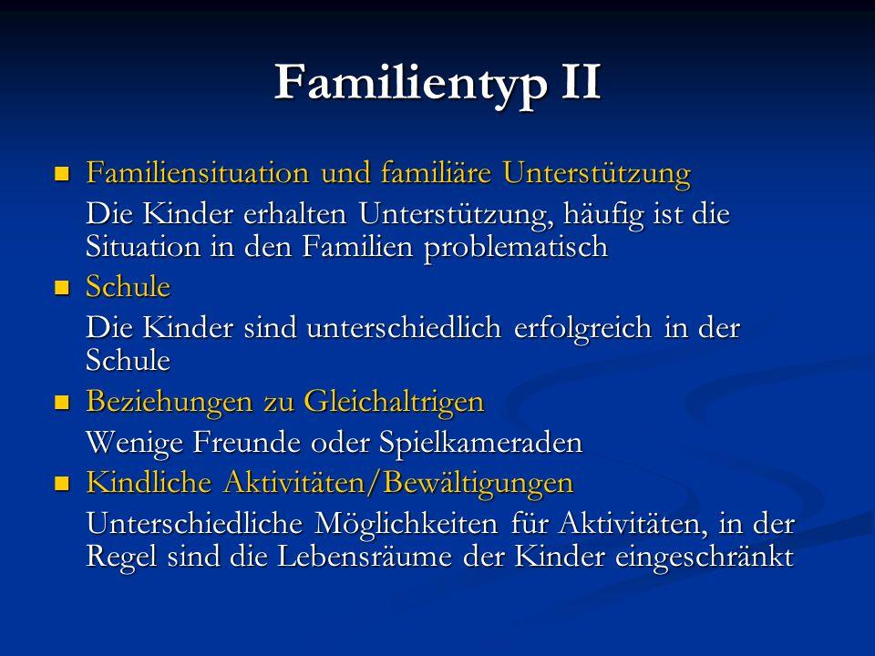 Familientyp II Familiensituation und familiäre Unterstützung Familiensituation und familiäre Unterstützung Die Kinder erhalten Unterstützung, häufig i