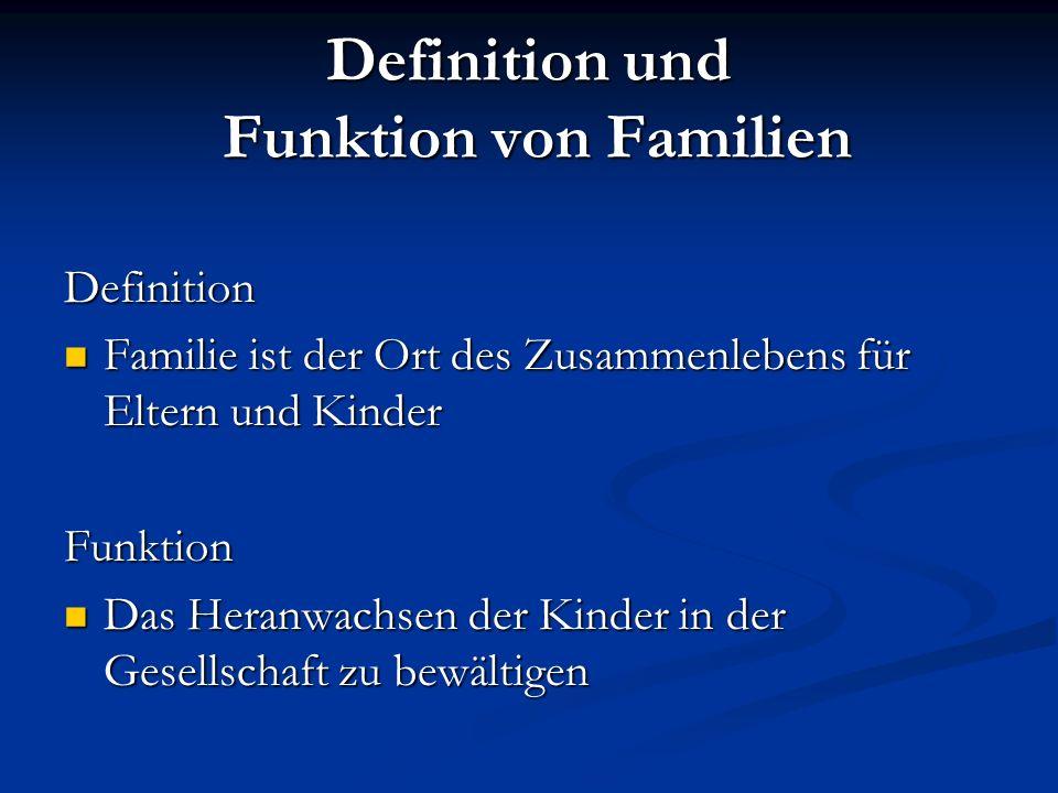Definition und Funktion von Familien Definition Familie ist der Ort des Zusammenlebens für Eltern und Kinder Familie ist der Ort des Zusammenlebens fü