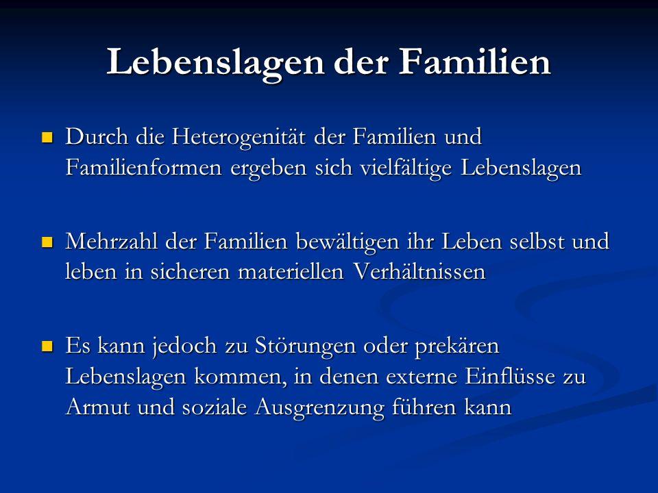 Lebenslagen der Familien Durch die Heterogenität der Familien und Familienformen ergeben sich vielfältige Lebenslagen Durch die Heterogenität der Fami