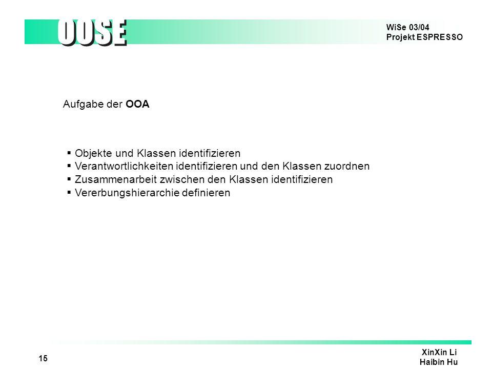 WiSe 03/04 Projekt ESPRESSO OOSE XinXin Li Haibin Hu 16 Aufgabe der OOD Festlegung der Architektur des Systems Ueberarbeiten des in OOA erzeugten OOA-Klassenmodells, z.B Hinzufuegen/Verschmelzen/Aendern von Klassen Aenderungen an der Vererbungsstrukturen Hinzufuegen/Entfernen von Beziehungen