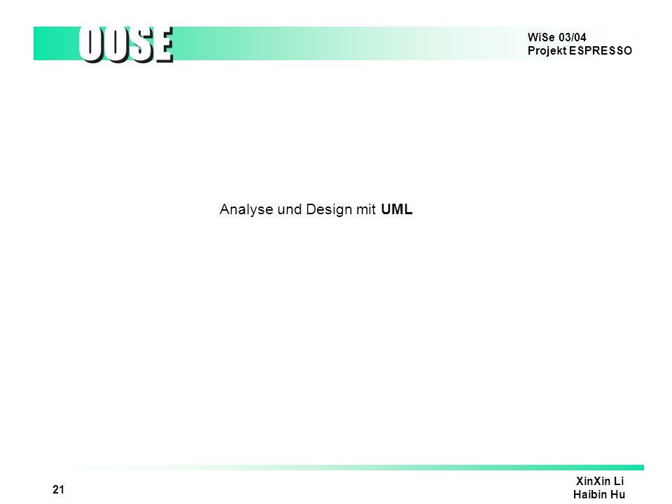WiSe 03/04 Projekt ESPRESSO OOSE XinXin Li Haibin Hu 21 Analyse und Design mit UML