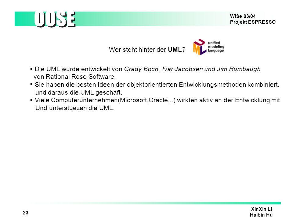 WiSe 03/04 Projekt ESPRESSO OOSE XinXin Li Haibin Hu 23 Wer steht hinter der UML? Die UML wurde entwickelt von Grady Boch, Ivar Jacobsen und Jim Rumba