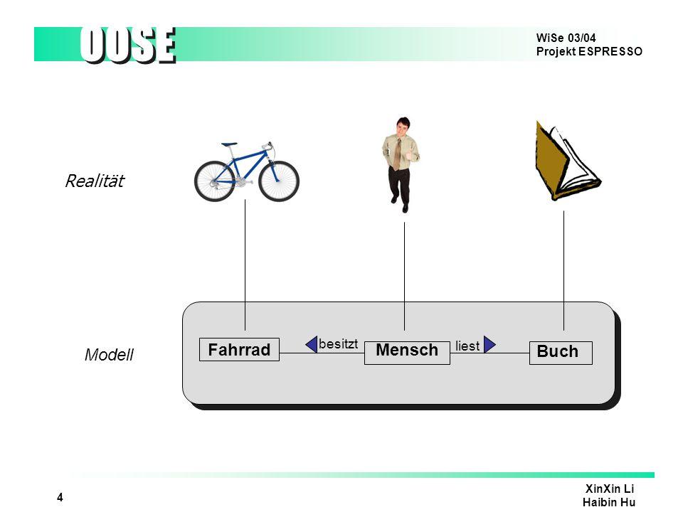 WiSe 03/04 Projekt ESPRESSO OOSE XinXin Li Haibin Hu 4 FahrradMensch Buch Realität Modell besitzt liest