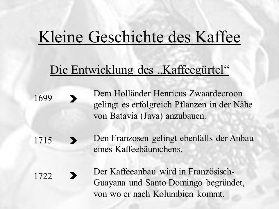 Kleine Geschichte des Kaffee Die Entwicklung des Kaffeegürtel 1699 1715 1722 Dem Holländer Henricus Zwaardecroon gelingt es erfolgreich Pflanzen in de