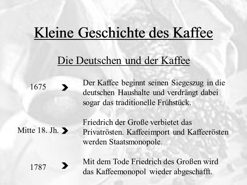 Kleine Geschichte des Kaffee Die Deutschen und der Kaffee Kleine Geschichte des Kaffee 1675 Mitte 18. Jh. 1787 Der Kaffee beginnt seinen Siegeszug in