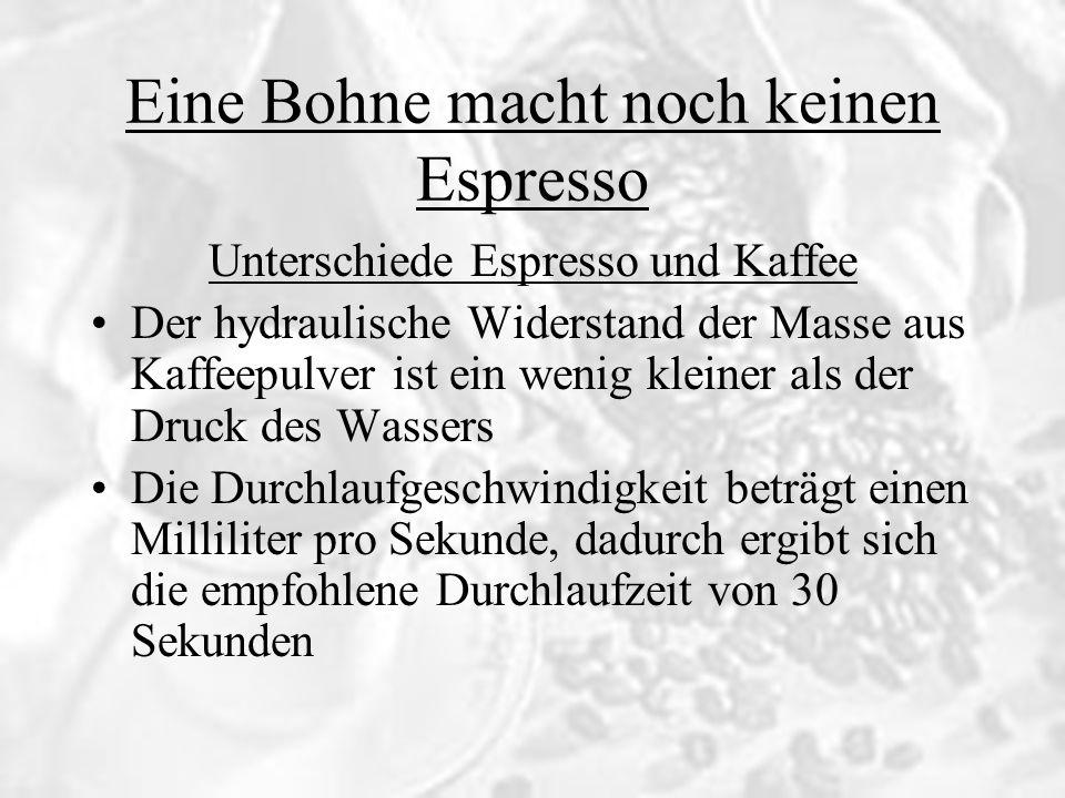 Eine Bohne macht noch keinen Espresso Unterschiede Espresso und Kaffee Der hydraulische Widerstand der Masse aus Kaffeepulver ist ein wenig kleiner al