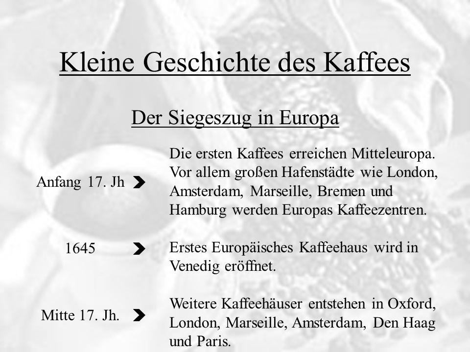 Kleine Geschichte des Kaffees Anfang 17. Jh 1645 Mitte 17. Jh. Der Siegeszug in Europa Die ersten Kaffees erreichen Mitteleuropa. Vor allem großen Haf