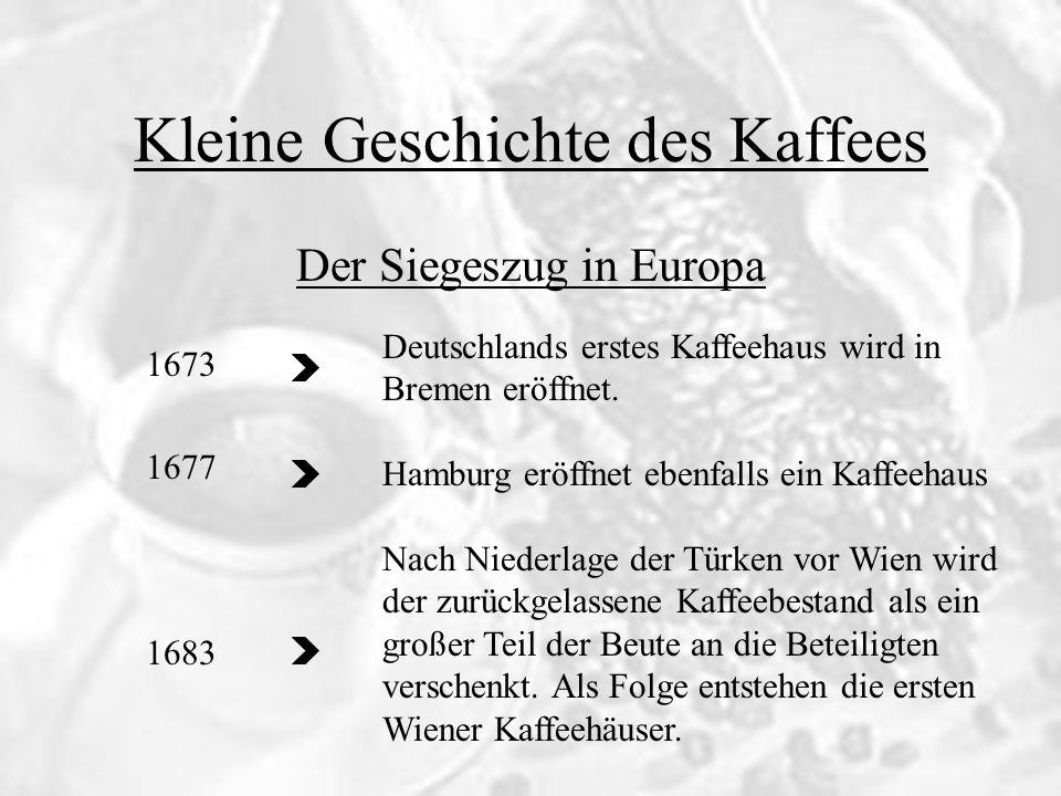 Kleine Geschichte des Kaffees 1673 1677 1683 Der Siegeszug in Europa Deutschlands erstes Kaffeehaus wird in Bremen eröffnet. Hamburg eröffnet ebenfall